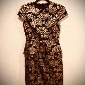 Black and gold midi dress
